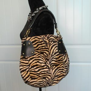 Faux Fur Animal Print Leather Detailed Purse
